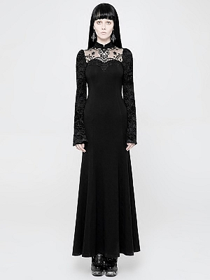 Gothic Lace Long Trumpet Sleeves Long Dress by Punk Rave