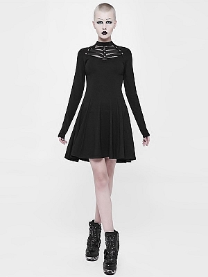 Gothic Punk Stand Collar Long Sleeves Short Dress by Punk Rave