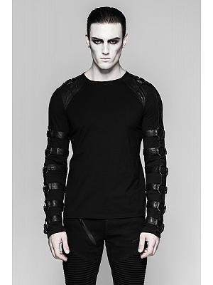 Men's Gothic Steampunk Round Neckline Long Sleeves Top by Punk Rave