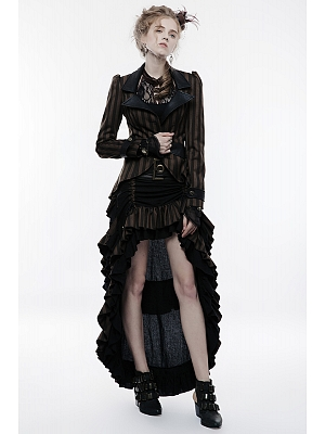 Gothic Steampunk Victoria Layered High Low Skirt by Punk Rave