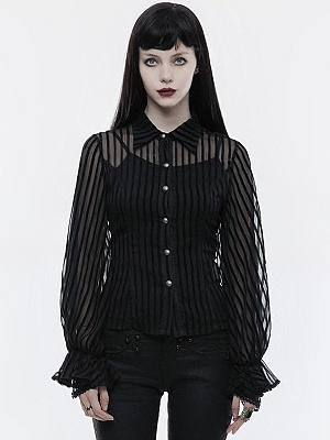 Gothic Steampunk Transparent Striped Long Sleeves Shirt by Punk Rave