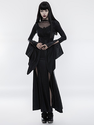 Gothic Gorgeous Long Trumpet Sleeves High Slit Long Dress by Punk Rave