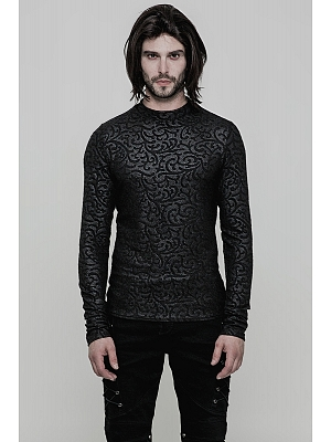 Men's Gothic Vintage Jacquard Long Sleeves Top by Punk Rave