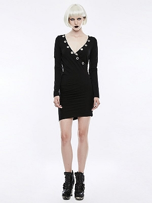 Gothic Punk V-neck Sexy Mini Knitted Dress by Punk Rave