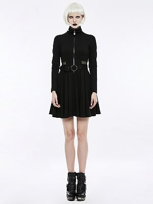 Gothic Punk Handsome Long Sleeves Short Dress with Waist Belt by Punk Rave