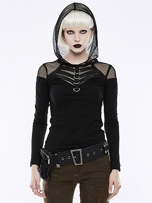 Gothic Punk Fishnet Hooded Long Sleeves Top by Punk Rave