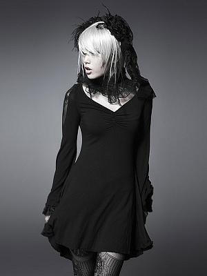 Gothic Lace Long Trumpet Sleeves Short Dress by Punk Rave