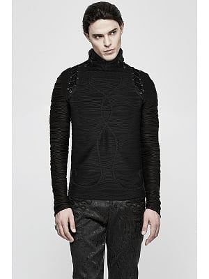 Men's Gothic High Neck Long Sleeves Knitted Top by Punk Rave