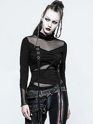Gothic Steampunk Mesh Stitching Long Sleeves Top by Punk Rave
