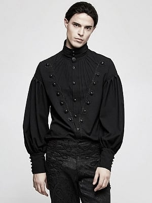 Men's Gothic Gorgeous Disc Florrt Long Sleeves Shirt by Punk Rave