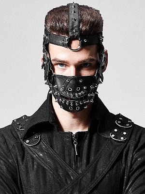Gothic Steampunk Rivet PU Leather Face Mask by Punk Rave