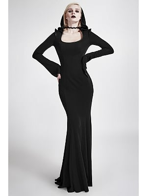 Gothic Hooded Long Sleeves Mopping Dress by Punk Rave