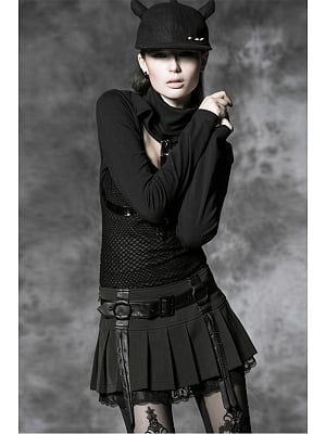 Gothic Punk Pleated Mini Skirt with Waist Belt by Punk Rave