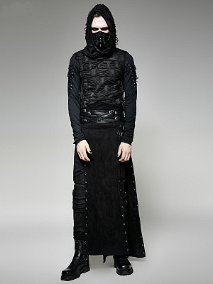 Men's Gothic Steampunk Rock Double Slit Long Skirt by Punk Rave
