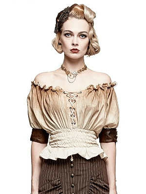 Gothic Steampunk Off-the-shoulder Neckline Short Sleeves Top by Punk Rave