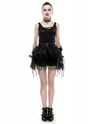 Gothic Lolita Tiered Puff Short Skirt and Matching Girdle by Punk Rave