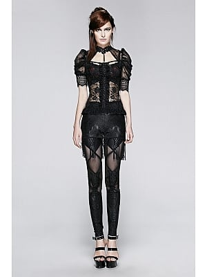 Gothic Semi Transparent Lace Short Puff Sleeves Top by Punk Rave