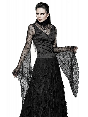 Gothic Vintage Spider Web Lace High Neck Long Trumpet Sleeves Top by Punk Rave