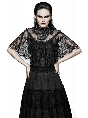 Gothic Vintage Lace Fake Two Pieces Cape Style Top by Punk Rave