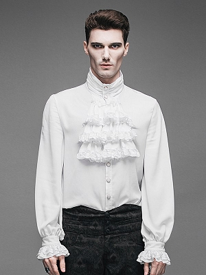 Men's Gothic Vintage White Stand Collar Long Sleeves Shirt by Punk Rave