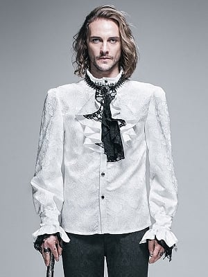 Men's Gothic Vintage White Jacquard Long Sleeves Shirt with Necktie by Punk Rave