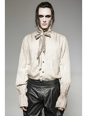 Men's Gothic Steampunk Stand Collar Long Sleeves Shirt With Tie by Punk Rave