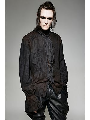 Men's Gothic Steampunk Black Stand Collar Long Sleeves Shirt With Tie by Punk Rave