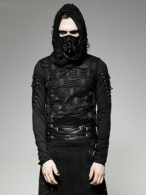 Men's Gothic Steampunk Broken Hole Hooded Long Sleeves Top by Punk Rave
