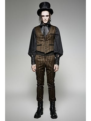 Men's Gothic Steampunk Striped Pants by Punk Rave
