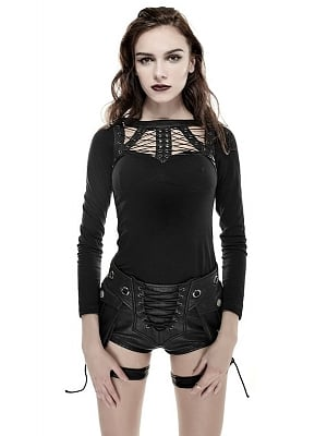 Gothic Punk Bandage Long Sleeves Top by Punk Rave