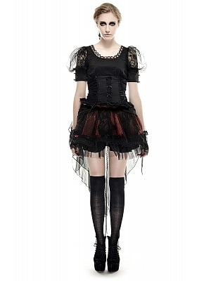 Gothic Lolita Bowknot Short Puff Sleeves Top by Punk Rave