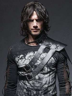 Men's Gothic Steampunk PU Leather One-shoulder Collar Accessories by Punk Rave