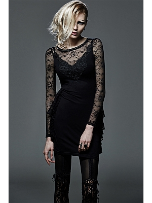 Gothic Sexy Lace Round Neckline Long Sleeves Mini Dress by Punk Rave