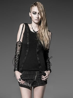 Gothic Round Neckline Sleeveless Top with Skull Mesh Sleeves by Punk Rave