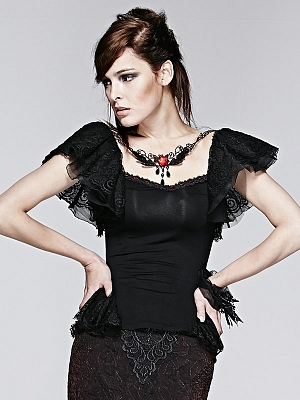 Gothic Short Butterfly Sleeves Top with Necklace by Punk Rave