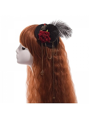 Steampunk Lolita Vintage Gear Feather Mini Top Hat Hairpin by Qian Chen Accessories