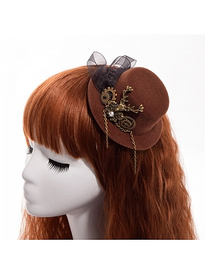 Steampunk Lolita Brown Gear Metal Chain Mini Top Hat Hairclip by Qian Chen Accessories
