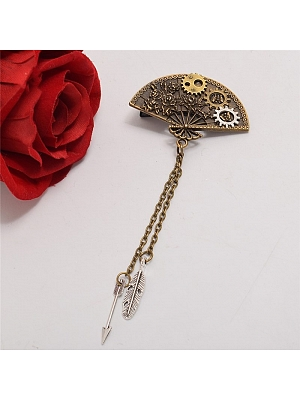 Steampunk Lolita Vintage Fan Gear Metal Chain Hairclip by Qian Chen Accessories