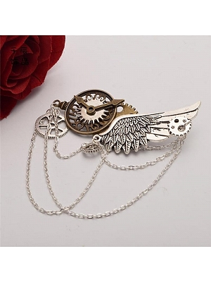 Steampunk Lolita Mechanical Gear Silver Wing Brooch by Qian Chen Accessories