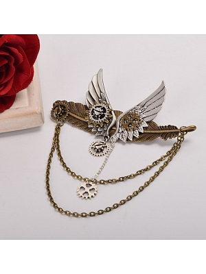 Steampunk Lolita Mechanical Gear Wing Brooch by Qian Chen Accessories