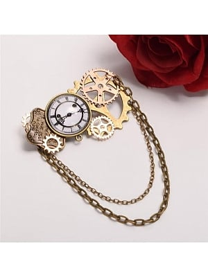 Steampunk Lolita Vintage Fake Clock Gear Brooch by Qian Chen Accessories