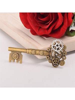 Steampunk Vintage Key Gear Brooch by Qian Chen Accessories