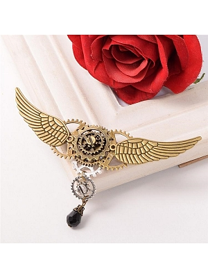 Steampunk Lolita Round Gear Wing Brooch by Qian Chen Accessories