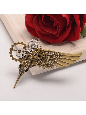 Steampunk Lolita Crow Head Gear Wing Brooch by Qian Chen Accessories