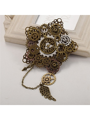 Steampunk Lolita Clock Gear Brooch by Qian Chen Accessories
