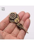 Steampunk Lolita Crow Head Gear Brooch by Qian Chen Accessories