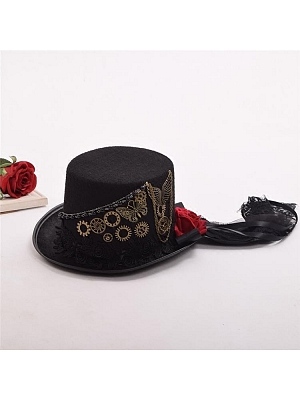 Steampunk Vintage Gear Top Hat by Qian Chen Accessories