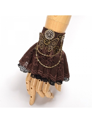 Steampunk Lolita Butterfly Gear Brown Wristcuff by Qian Chen Accessories