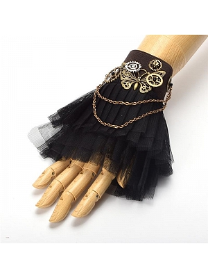 Steampunk Lolita Butterfly Gear Black Lace Wristcuff by Qian Chen Accessories