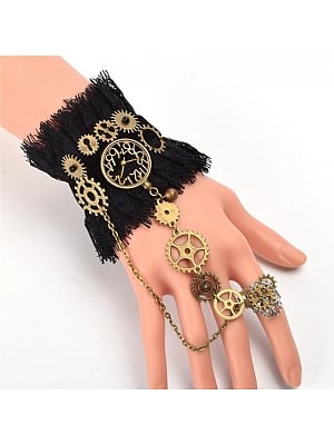 Steampunk Lolita Vintage Gear Finger Ring Lace Bracelet by Qian Chen Accessories
